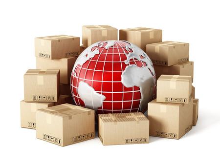szállítás: Cargo dobozok szerte a világon elszigetelt fehér háttér
