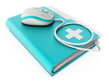 file: Computer mouse standing on medical folder Stock Photo