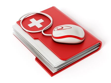 medical exam: Computer mouse standing on medical folder Stock Photo