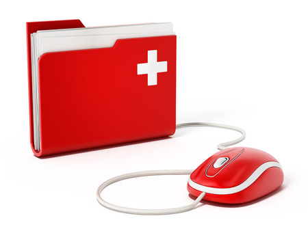Computer mouse standing on medical folder Stockfoto