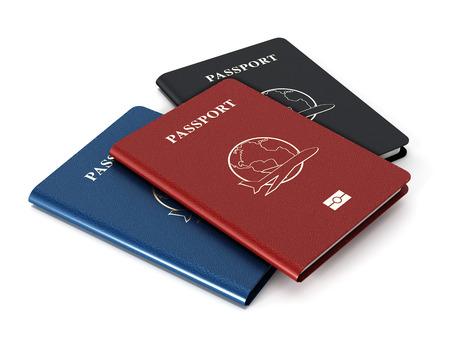 pasaporte: Pasaportes rojos, azules y negros aislados en el fondo blanco