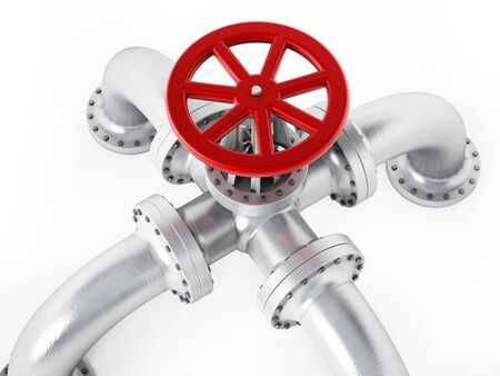 gas tap: Red valve on metal pipes isolated on white background Stock Photo