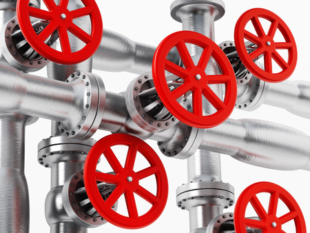 metal pipes: Red valve on metal pipes isolated on white background Stock Photo