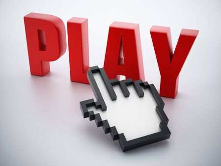 red hand: Hand cursor on red play word. Stock Photo