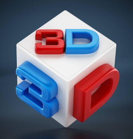 stereoscope: Red and blue 3D text on white cube.