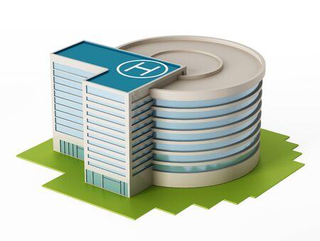 hospital background: Hospital building isolated on white background