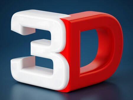 stereoscope: 3D text on blue background
