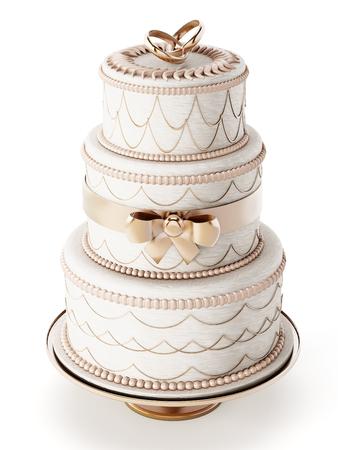 pastel boda: Pastel de boda aisladas sobre fondo blanco Foto de archivo
