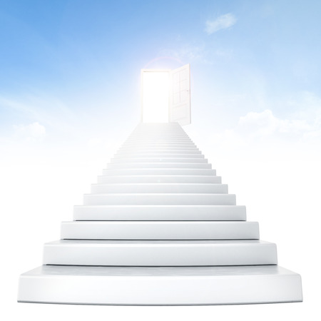 stairway to heaven: Stairs leading to bright open door Stock Photo