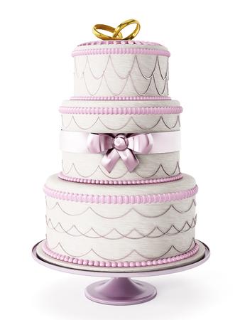 婚禮: 婚禮蛋糕被隔絕在白色背景