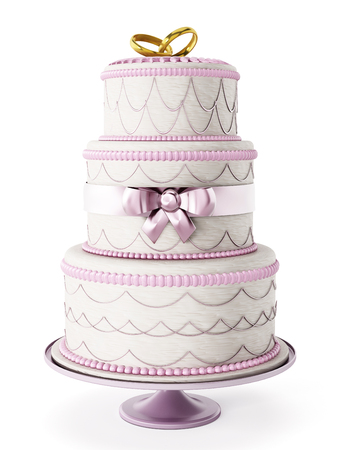 wedding: Düğün pastası beyaz arka plan üzerinde izole Stok Fotoğraf