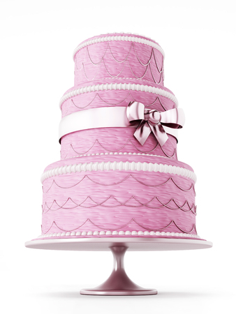 Wedding cake isolated on white background. Stock Photo
