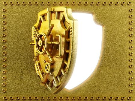 vaulted door: Gold vaulted door with shield shape Stock Photo
