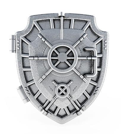 escudo: Metal saltó puerta con forma de escudo Foto de archivo