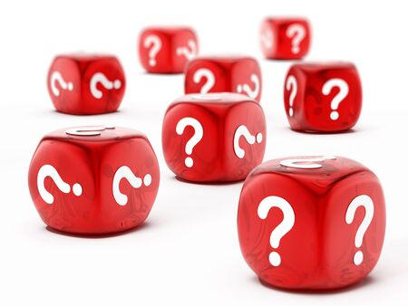 Dice with question mark symbol isolated on white background Stock Photo