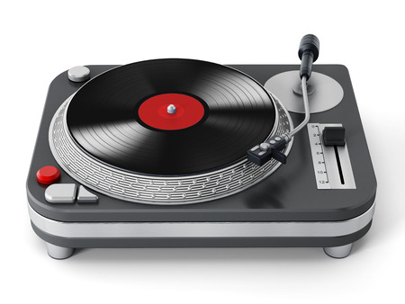 entertainment equipment: Vintage turntable isolated on white background