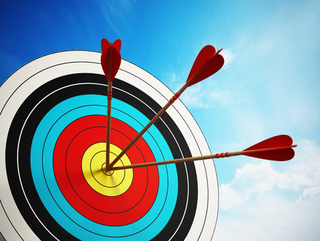 archery: Three arrows at the center of the target.