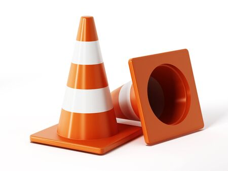 traffic   cones: Traffic cones isolated on white background Stock Photo