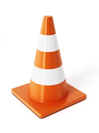 Verkeerskegels op een witte achtergrond Stockfoto