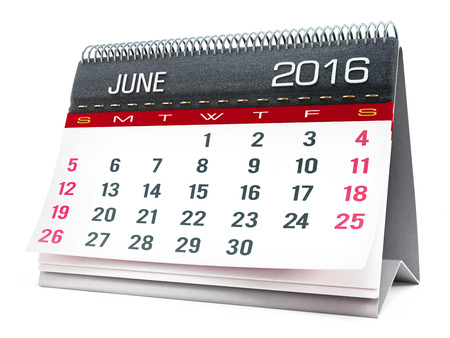 event calendar: June 2016 desktop calendar isolated on white background