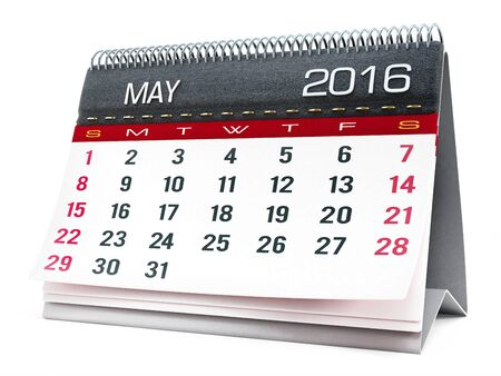 event calendar: May 2016 desktop calendar isolated on white background