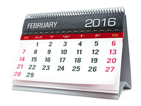 calendar isolated: February 2016 desktop calendar isolated on white background