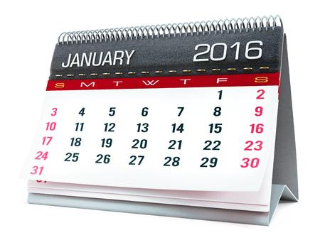 calendar isolated: January 2016 desktop calendar isolated on white background
