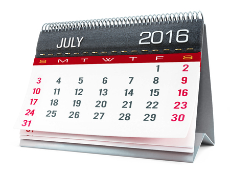 calendar isolated: July 2016 desktop calendar isolated on white background Stock Photo