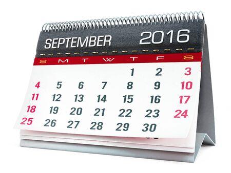 calendar isolated: September 2016 desktop calendar isolated on white background