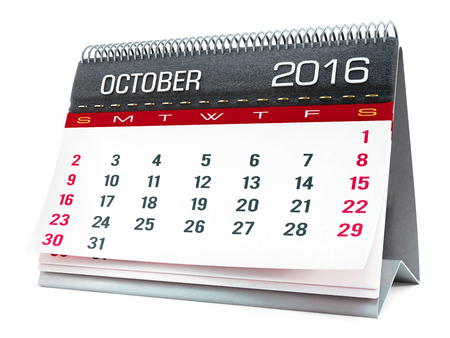 calendar isolated: October 2016 desktop calendar isolated on white background