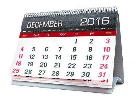 calendar isolated: December 2016 desktop calendar isolated on white background Stock Photo