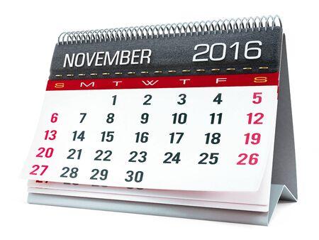 calendar isolated: November 2016 desktop calendar isolated on white background Stock Photo
