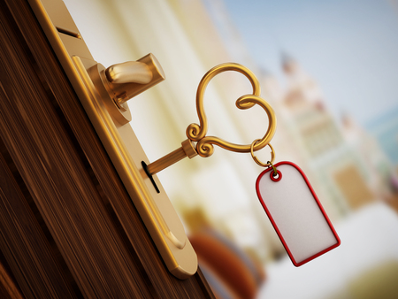 hotel room door: Heart shaped hotel room key on the door