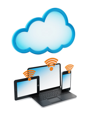 cloud computer: Laptop computer, smartphone and tablet computer connected to the cloud. Cloud computing concept.