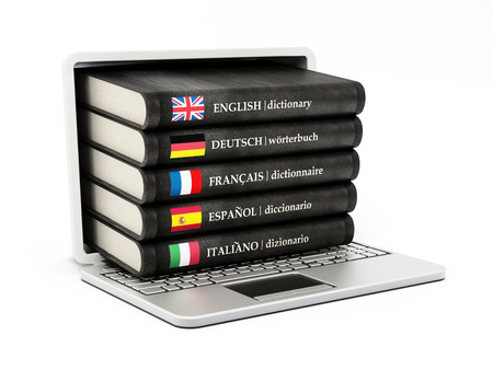 translation: Dictionaries inside  laptop computer screen isolated on white background
