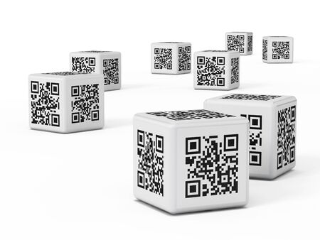 code: QR code cube isolated on white background