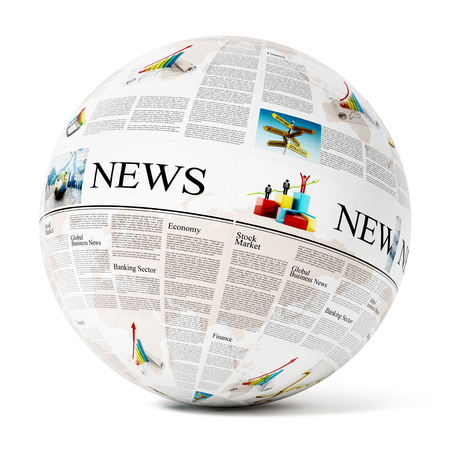 newspaper texture: Newspaper texture on globe isolated on white background