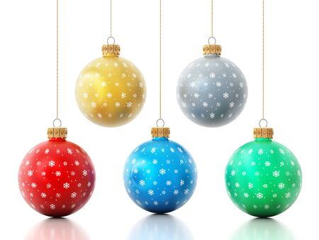 christmas baubles: Hanging christmas baubles isolated on white background.
