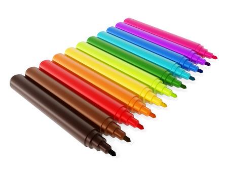 marker: marcador de color Conjunto de color del lápiz aislado en el fondo blanco