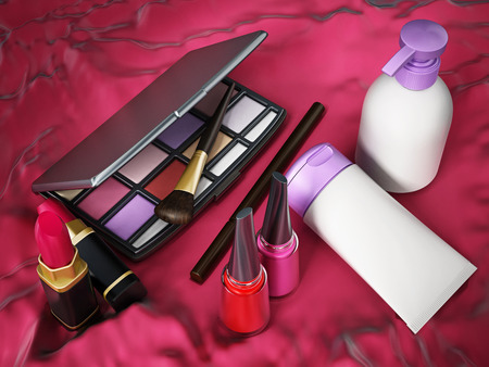 cosmetics products: Makeup tools on red background