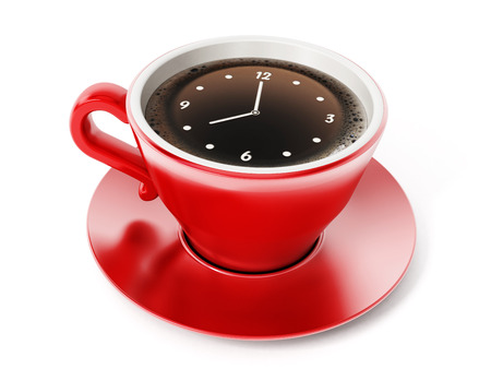 clock: Clock pointing 8 oclock on red coffe cup.