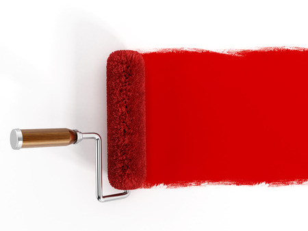 wall paint: Red paint roller isolated on white background.
