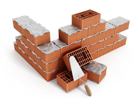 Brick wall under construction isolated on white background. Standard-Bild