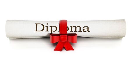 Rolled Up Diploma Isolated On White Background Stock Photo