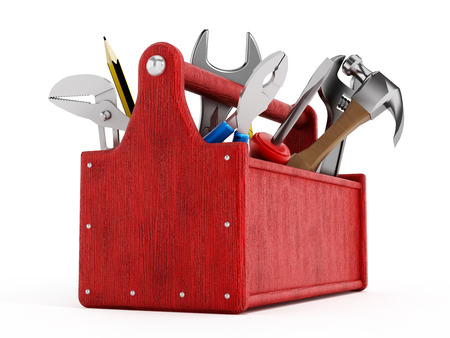 toolbox: Red toolbox full of hand tools isolated on white background