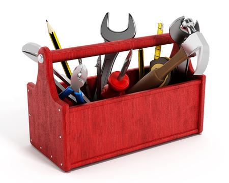 Rode gereedschapskist vol met handgereedschap op een witte achtergrond