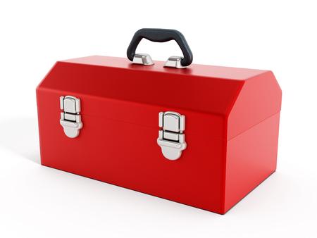 Rode toolbox op een witte achtergrond