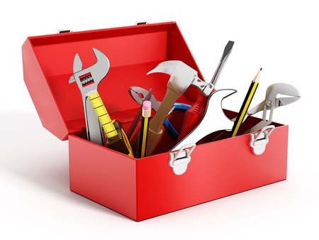 Red toolbox full of hand tools isolated on white background 版權商用圖片 - 47188617