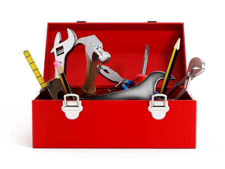 赤いツールボックス ハンドツールは、白い背景で隔離の