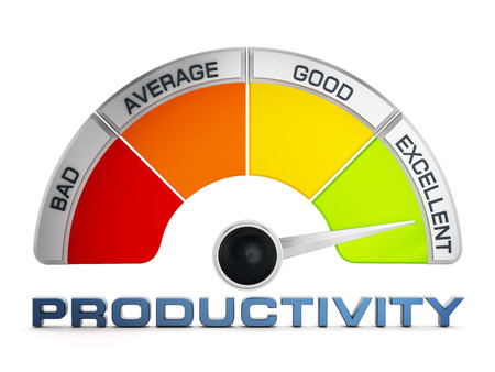productivity: Productivity levels meter isolated on white background